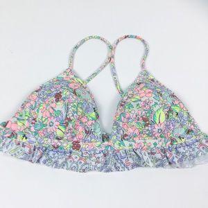 Victoria's Secret Neon Floral Bikini Top w/ Ruffle
